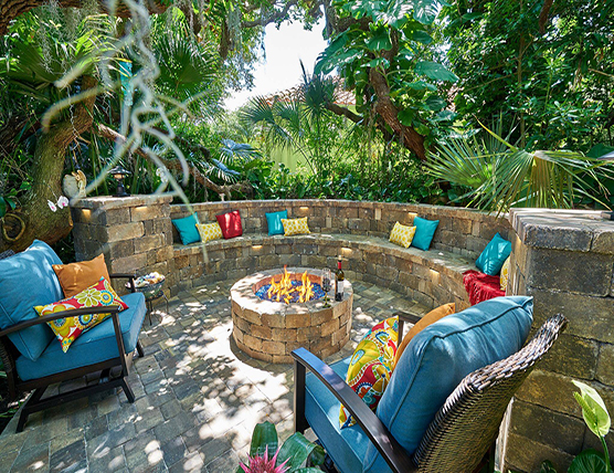 outdoor couch and firepit made with concrete pavers